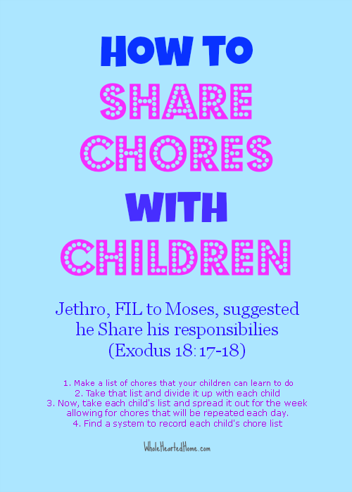 How To Share Chores With Children {WholeHearted Home}