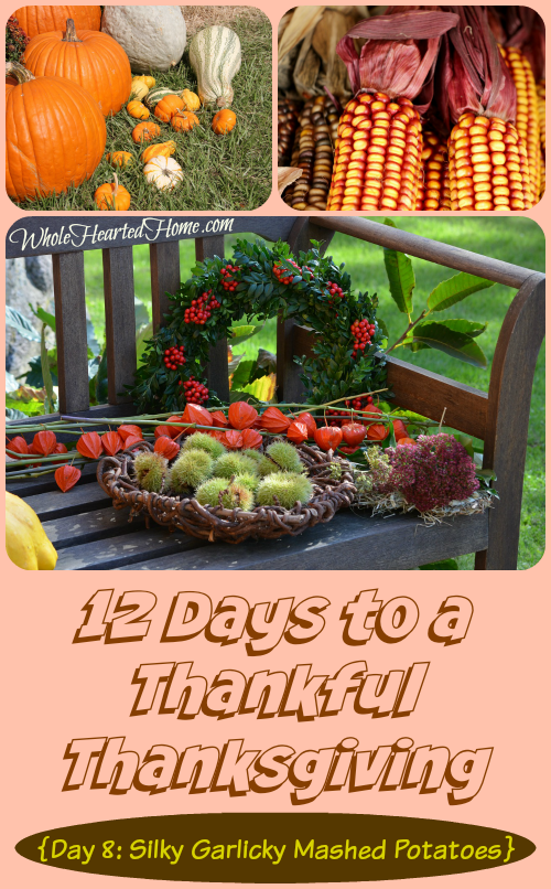 12 Days to a Thankful Thanksgiving {Day 8 Silky Garlicky Mashed Potatoes}